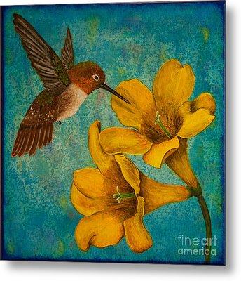 Hummingbird With Yellow Jasmine Metal Print