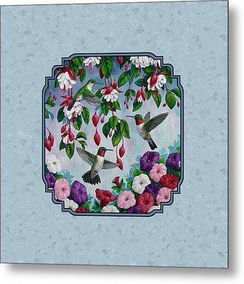 Hummingbirds And Flowers Cyan Pillow And Duvet Cover Metal Print