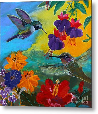 Hummingbirds Prayer Warriors Metal Print
