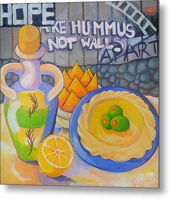 Hummus Behind A Wall Metal Print by Corey Habbas
