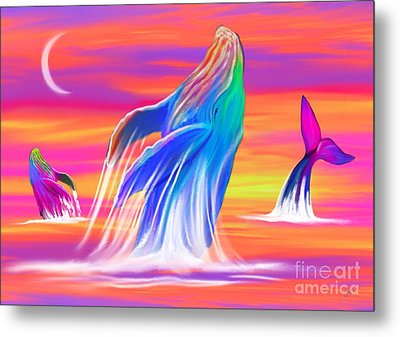 Humpback Whales Sunset Metal Print by Nick Gustafson