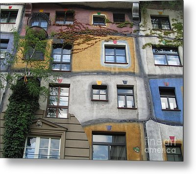 Hundertwasser Colored House Metal Print by Eclectic Captures