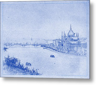Hungarian Parliament Building In Budapest Blueprint Metal Print