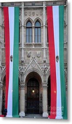 Hungary Flag Hanging At Parliament Budapest Metal Print by Imran Ahmed