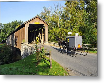 Metal Print featuring the photograph Hunseckers Mill Covered Bridge by Dan Myers