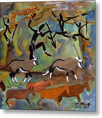 Hunters And Gemsbok Rock Art Metal Print by Caroline Street