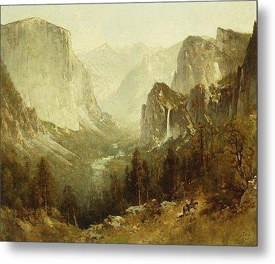 Hunting In Yosemite Metal Print by Thomas Hill