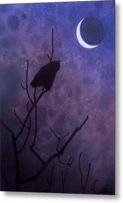 Hunting Moon II Or Great Horned Owl Metal Print