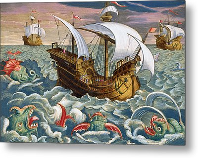 Hunting Sea Creatures Metal Print by Jan Collaert
