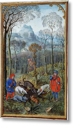 Hunting Wild Boar Metal Print