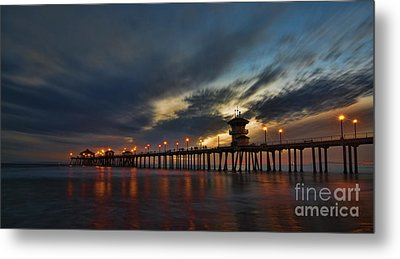 Huntington Beach At Night Metal Print by Peter Dang