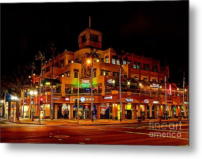 Huntington Beach Downtown Nightside 1 Metal Print by Jim Carrell