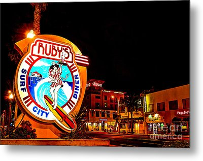 Huntington Beach Downtown Nightside 2 Metal Print
