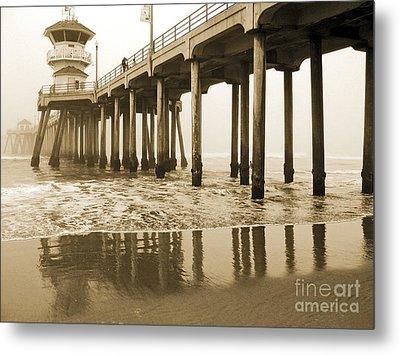 Huntington Beach Pier - Vintage Metal Print