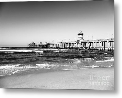 Huntington Beach Pier Black And White Picture Metal Print by Paul Velgos