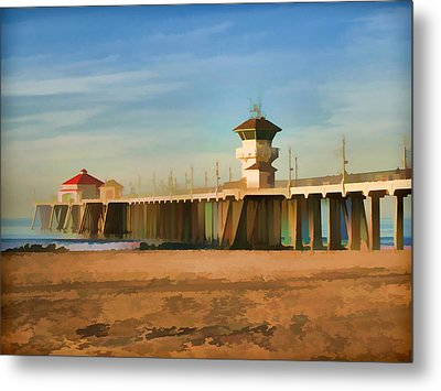Huntington Beach Pier California Metal Print by Flo Karp