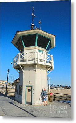 Huntington Beach Pier Lifeguard Tower Metal Print by Gregory Dyer