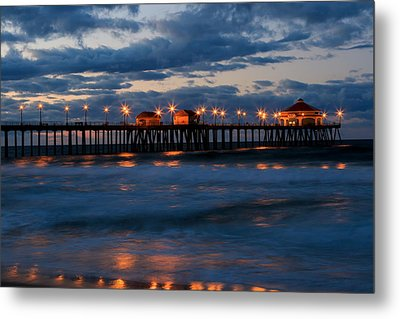 Huntington Beach Pier Lights  Metal Print