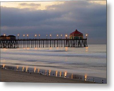 Huntington Beach Pier Morning Lights Metal Print