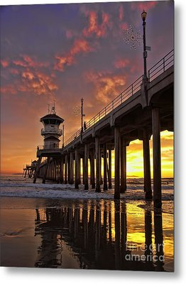 Huntington Beach Pier Metal Print by Peggy Hughes