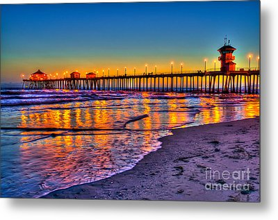 Huntington Beach Pier Sundown Metal Print