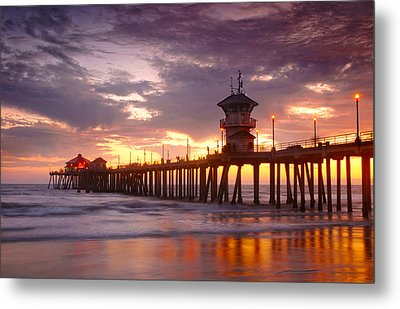 Huntington Beach Pier Sunset Metal Print by Dung Ma