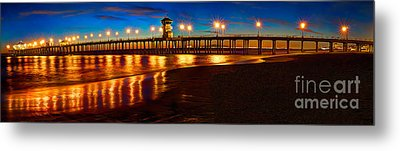 Huntington Beach Pier Twilight Panoramic Metal Print by Jim Carrell