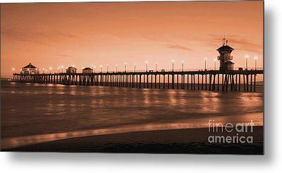 Huntington Beach Pier - Twilight Sepia Metal Print