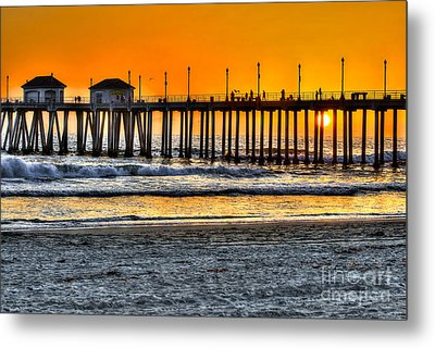 Huntington Beach Sunset Metal Print