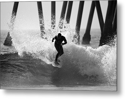 Huntington Beach Surfer Metal Print by Pierre Leclerc Photography