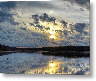 Huntington Sunset Reflection Metal Print