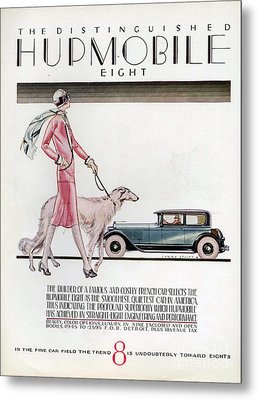 Hupmobile  1926 1920s Usa Cc Cars Dogs Metal Print by The Advertising Archives