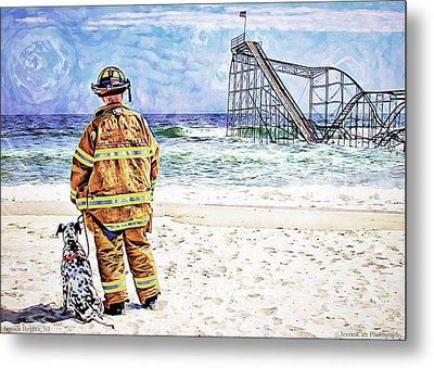 Hurricane Sandy Fireman Metal Print by Jessica Cirz