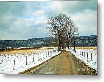 Hyatt Lane In Snow Metal Print by Debbie Green