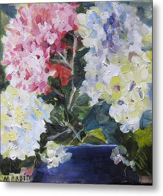 Metal Print featuring the painting Hydrangea Blue by MaryAnne Ardito