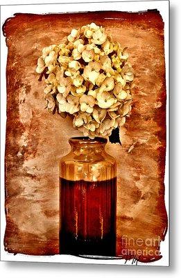 Hydrangea In A Vase Metal Print by Marsha Heiken