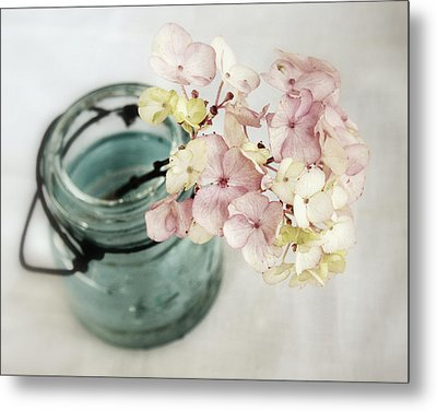 Metal Print featuring the photograph Hydrangea In Vintage Robin's Egg Jar by Brooke T Ryan