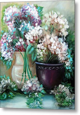 Metal Print featuring the painting Hydrangea Melody by Patrice Torrillo