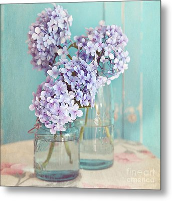Hydrangeas In Mason Jars Metal Print