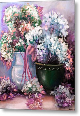 Metal Print featuring the painting Hydrangeas Still Life Pink by Patrice Torrillo