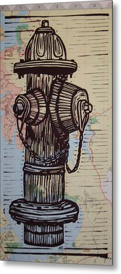 Hydrant On Map Metal Print