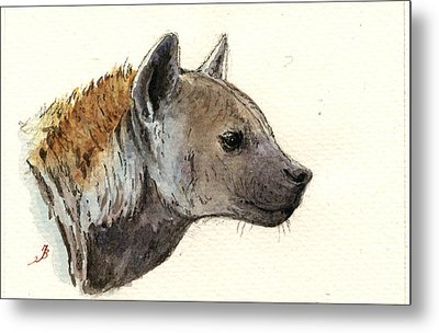 Hyena Head Study Metal Print by Juan  Bosco