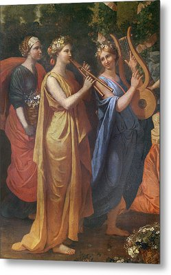 Hymenaios Disguised As A Woman During An Offering To Priapus, Detail Of The Musicians, C.1634-38 Metal Print by Nicolas Poussin