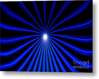 Metal Print featuring the painting Hyperspace Blue Landscape by Pet Serrano
