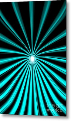 Metal Print featuring the painting Hyperspace Cyan Portrait by Pet Serrano
