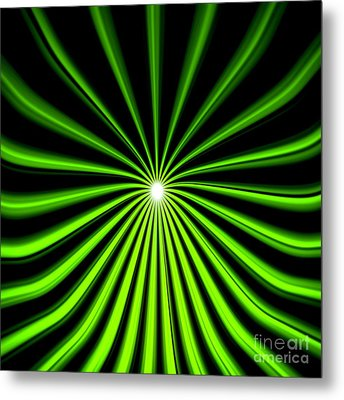 Metal Print featuring the painting Hyperspace Electric Green Square by Pet Serrano
