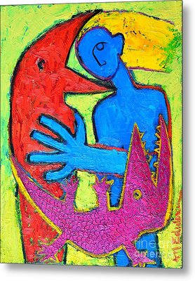 I Am Blue But Still Alive Do Not Eat Me Metal Print by Ana Maria Edulescu