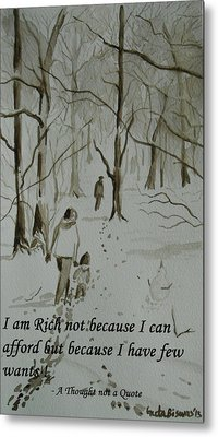 I Am Rich - Monochrome-snow Scene Metal Print