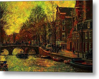 I Amsterdam. Vintage Amsterdam In Golden Light Metal Print by Jenny Rainbow