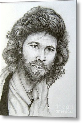 Metal Print featuring the drawing Barry Gibb by Patrice Torrillo